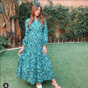 Zara floral print dress sea green NWT medium